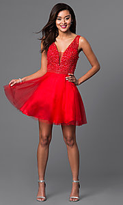 Image of v-neck short red party dress with beaded bodice. Style: DJ-A4190 Detail Image 2