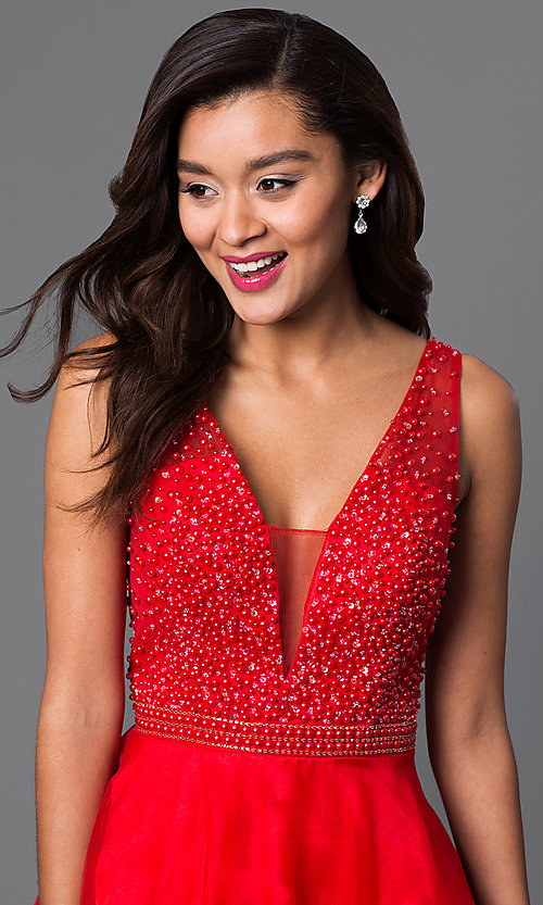 Image of v-neck short red party dress with beaded bodice. Style: DJ-A4190 Detail Image 1
