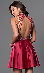 Image of short burgundy designer homecoming party dress. Style: DJ-A4311 Back Image