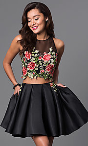 Image of two-piece short dress with embroidered-lace bodice.  Style: DJ-A4515 Front Image