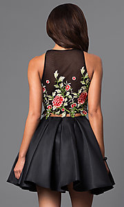 Image of two-piece short dress with embroidered-lace bodice.  Style: DJ-A4515 Back Image