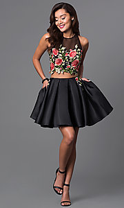 Image of two-piece short dress with embroidered-lace bodice.  Style: DJ-A4515 Detail Image 2