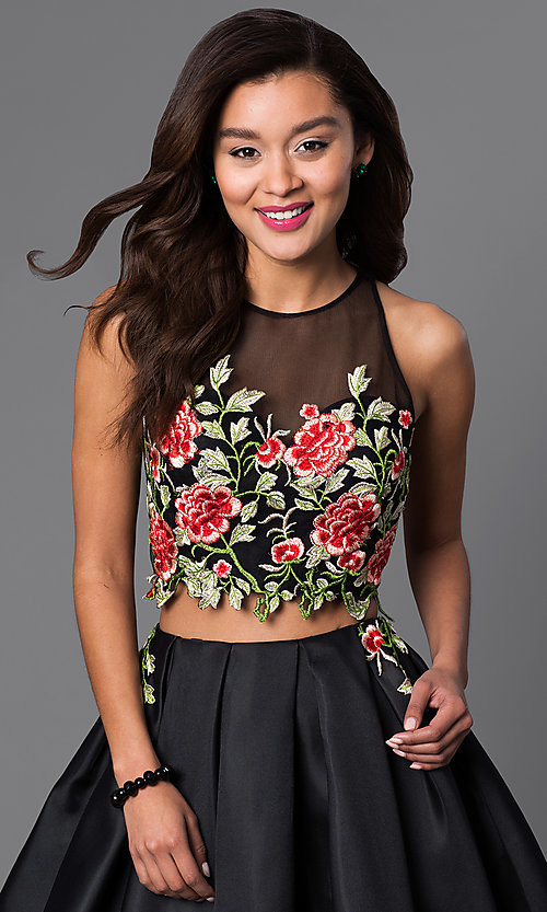 Image of two-piece short dress with embroidered-lace bodice.  Style: DJ-A4515 Detail Image 1