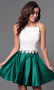 Image of short two-piece beaded lace-top homecoming dress. Style: DJ-A4524 Detail Image 2