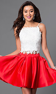 Image of short two-piece beaded lace-top homecoming dress. Style: DJ-A4524 Front Image