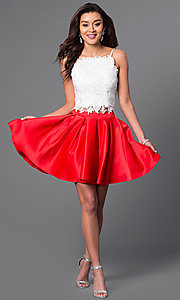 Image of short two-piece beaded lace-top homecoming dress. Style: DJ-A4524 Detail Image 1