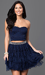 Image of lace two-piece strapless short navy-blue dress. Style: CT-3701mg2b Front Image