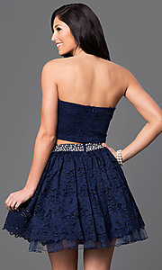 Image of lace two-piece strapless short navy-blue dress. Style: CT-3701mg2b Back Image