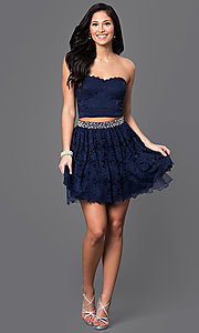 Image of lace two-piece strapless short navy-blue dress. Style: CT-3701mg2b Detail Image 1