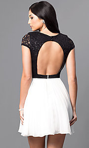 Image of lace-bodice black and white homecoming party dress. Style: DMO-J311236 Back Image