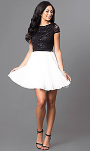 Image of lace-bodice black and white homecoming party dress. Style: DMO-J311236 Detail Image 1