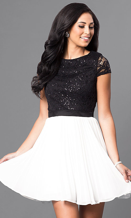 Image of lace-bodice black and white homecoming party dress. Style: DMO-J311236 Front Image