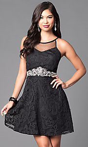 Image of lace-applique short black homecoming party dress. Style: DMO-J312766 Front Image