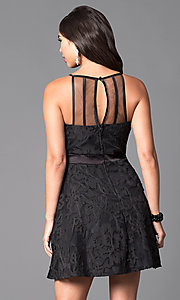 Image of lace-applique short black homecoming party dress. Style: DMO-J312766 Back Image