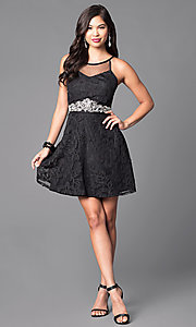 Image of lace-applique short black homecoming party dress. Style: DMO-J312766 Detail Image 1