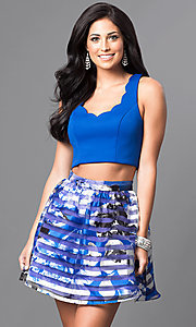 Image of royal blue two-piece floral-print homecoming dress. Style: DMO-J314346 Front Image