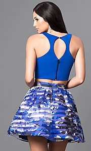 Image of royal blue two-piece floral-print homecoming dress. Style: DMO-J314346 Back Image