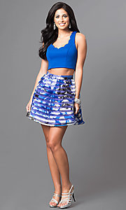 Image of royal blue two-piece floral-print homecoming dress. Style: DMO-J314346 Detail Image 1