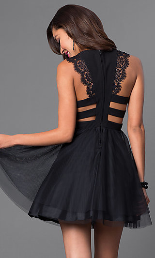 Short Black Party Dress, Homecoming Dress