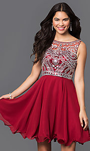 Image of short jewel-embellished chiffon homecoming dress. Style: DQ-9523 Detail Image 1
