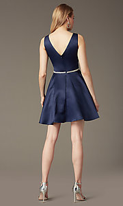 Image of short circle-skirt v-neck party dress. Style: DQ-9504 Back Image