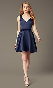 Image of short circle-skirt v-neck party dress. Style: DQ-9504 Detail Image 3