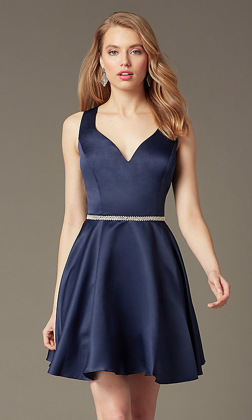Image of short circle-skirt v-neck party dress. Style: DQ-9504 Front Image