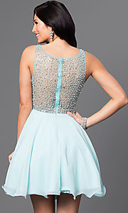 Image of short embellished-illusion sleeveless dress. Style: DQ-9459 Back Image