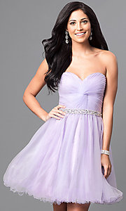 Image of corset-back short strapless homecoming party dress. Style: DQ-9309 Detail Image 3