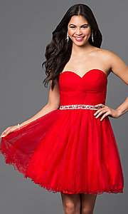 Image of corset-back short strapless homecoming party dress. Style: DQ-9309 Detail Image 2