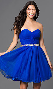 Image of corset-back short strapless homecoming party dress. Style: DQ-9309 Detail Image 1