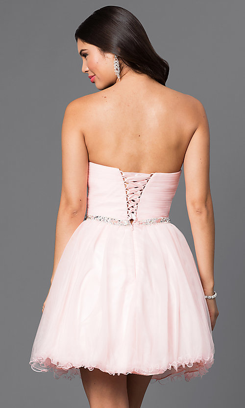Image of corset-back short strapless homecoming party dress. Style: DQ-9309 Back Image