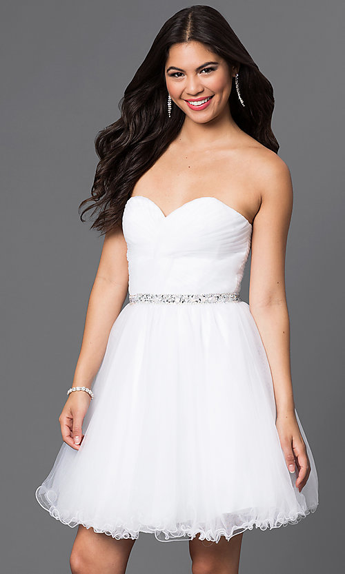 Image of corset-back short strapless homecoming party dress. Style: DQ-9309 Front Image