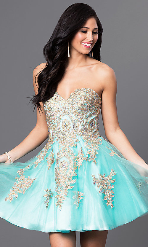 Image of short beaded-lace applique corset babydoll dress. Style: DQ-9484 Detail Image 2