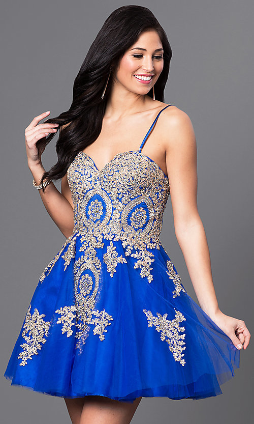 Image of short beaded-lace applique corset babydoll dress. Style: DQ-9484 Detail Image 1