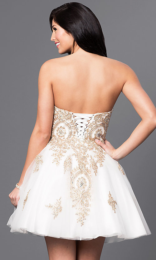 Image of short beaded-lace applique corset babydoll dress. Style: DQ-9484 Back Image