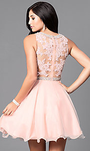 Image of lace-bodice short sleeveless homecoming dress. Style: DQ-9467 Back Image