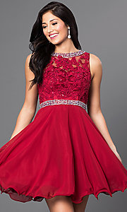 Image of lace-bodice short sleeveless homecoming dress. Style: DQ-9467 Front Image
