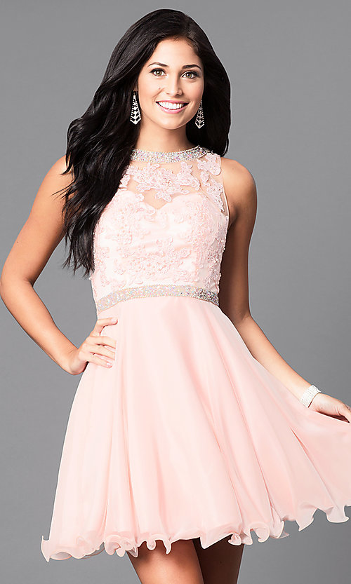 Image of lace-bodice short sleeveless homecoming dress. Style: DQ-9467 Detail Image 1