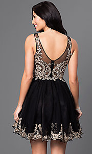 Image of short v-neck embellished-bodice homecoming dress. Style: DQ-9422 Back Image
