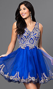 Image of short v-neck embellished-bodice homecoming dress. Style: DQ-9422 Detail Image 3