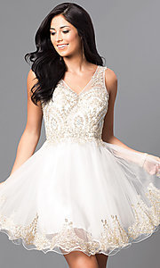 Image of short v-neck embellished-bodice homecoming dress. Style: DQ-9422 Front Image