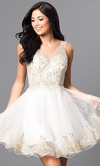 Embellished Bodice Short V Neck Homecoming Dress