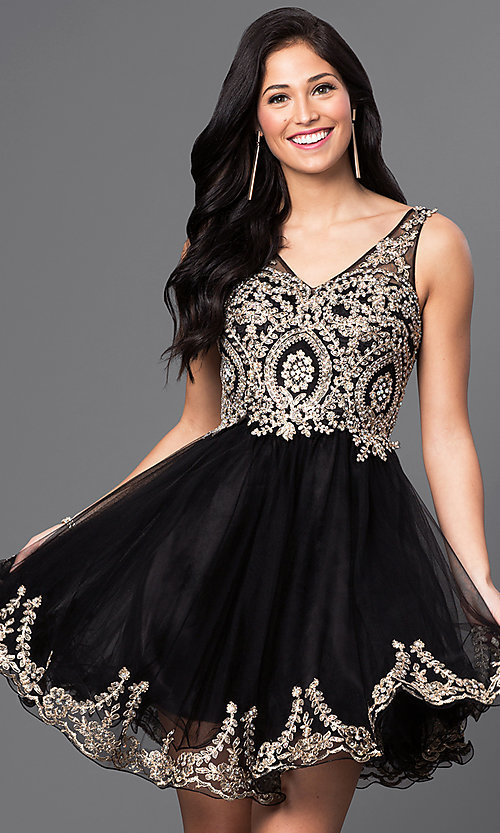 Image of short v-neck embellished-bodice homecoming dress. Style: DQ-9422 Detail Image 1