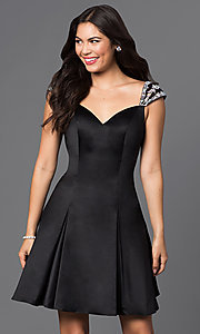 Image of short jeweled cap-sleeve semi-formal dress. Style: DQ-9476 Detail Image 3