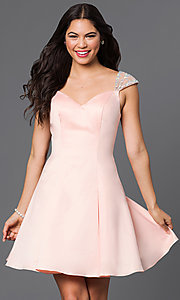Image of short jeweled cap-sleeve semi-formal dress. Style: DQ-9476 Front Image