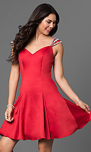 Image of short jeweled cap-sleeve semi-formal dress. Style: DQ-9476 Detail Image 2