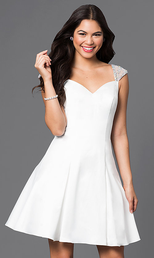 Image of short jeweled cap-sleeve semi-formal dress. Style: DQ-9476 Detail Image 1