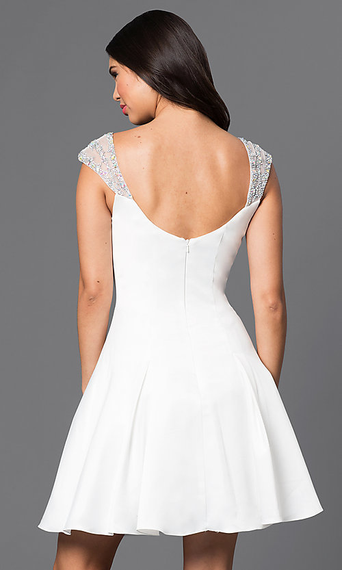 Image of short jeweled cap-sleeve semi-formal dress. Style: DQ-9476 Back Image