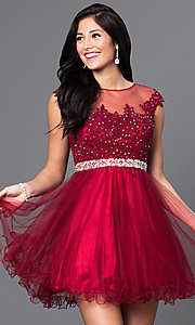 Image of illusion-lace-bodice short babydoll homecoming dress. Style: DQ-9489 Detail Image 1